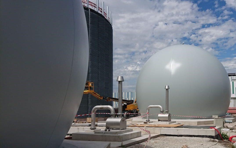 Stockeur de biogaz station d'épuration Bruxelles sud