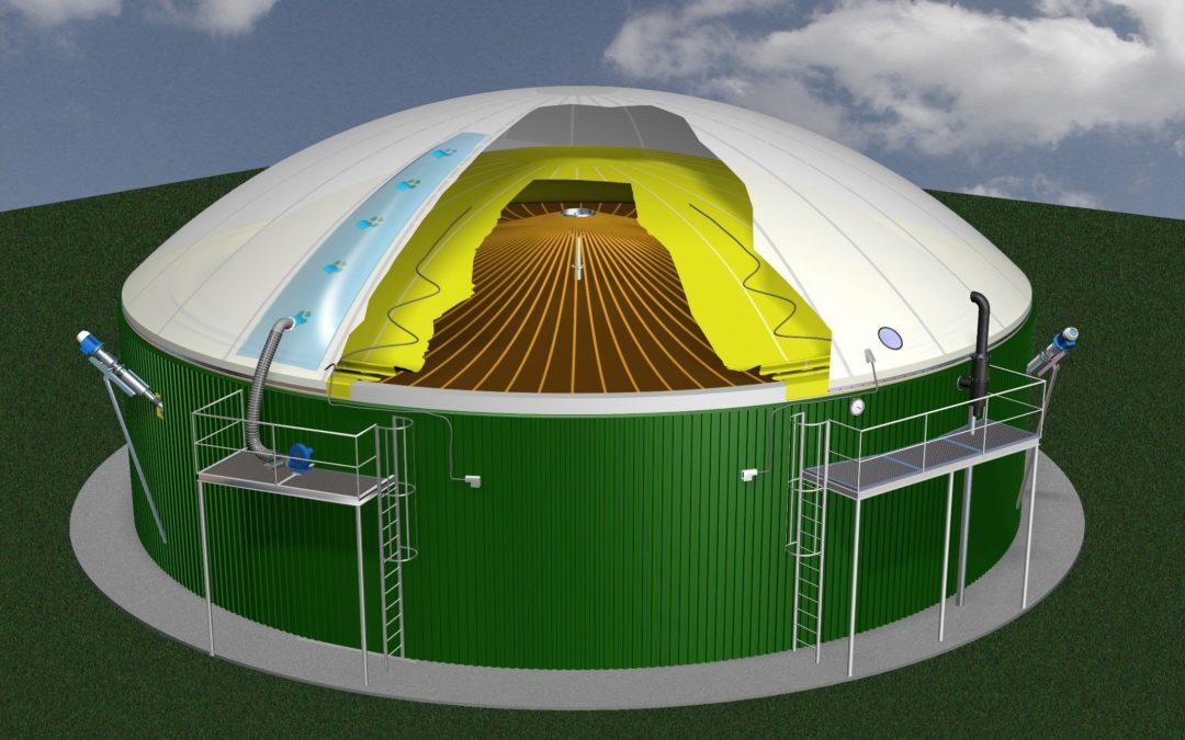 modélisation 3D de stockeur de biogaz de type DMGS TM de marque Sattler