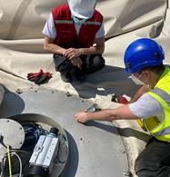 Travaux de rénovation du gazomètre de GRT Gaz à Alfortville